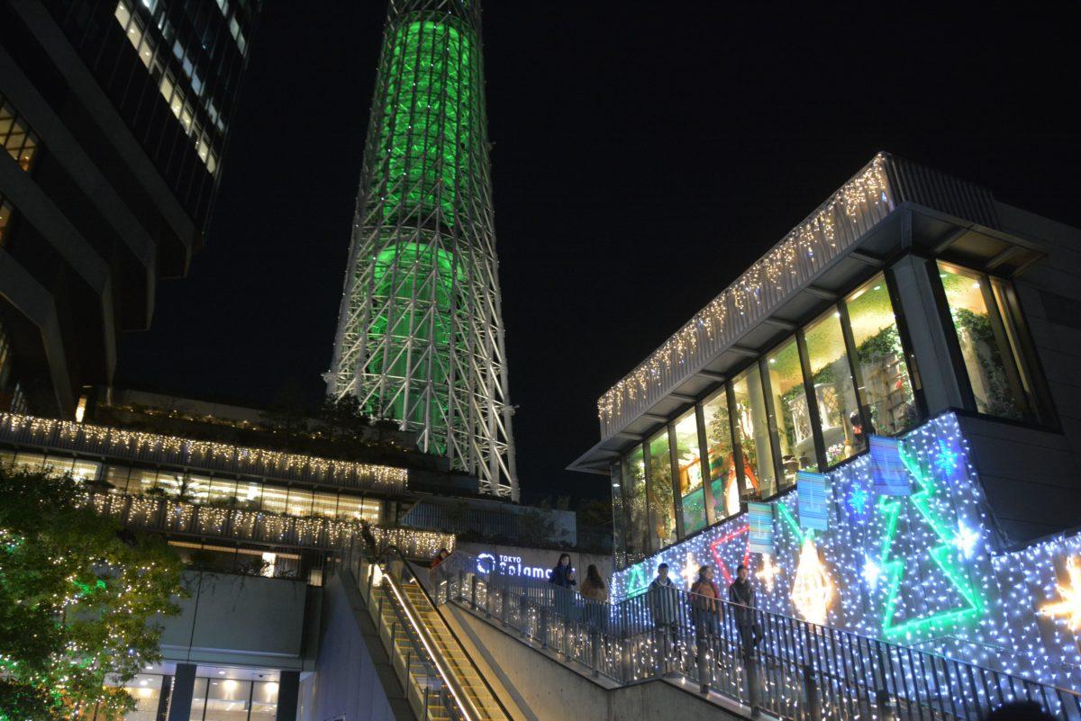 「東京スカイツリー・ドリームクリスマス」のイルミネーションがスカイツリーのライトアップにコラボ