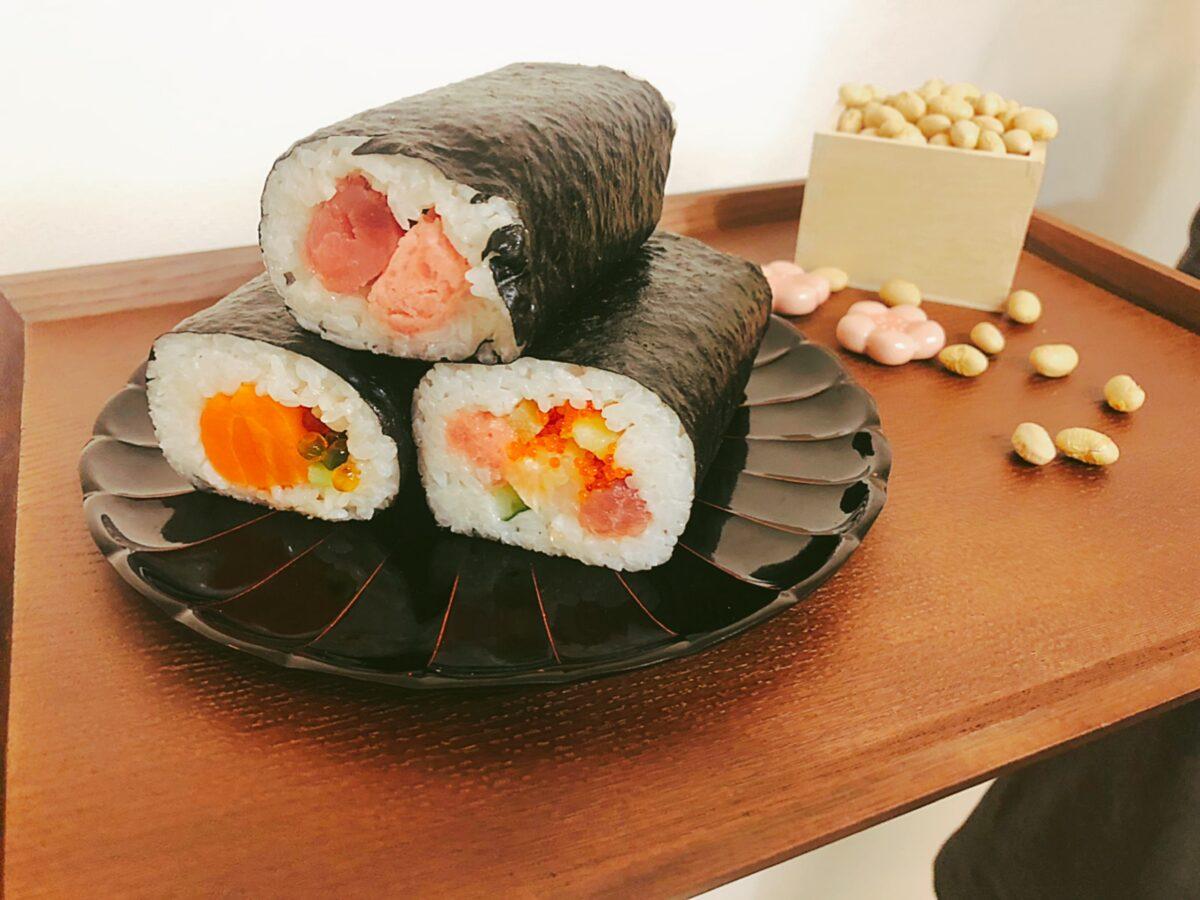 西友(SEIYU)の「3種の恵方巻ハーフセット」を食べてみた【2021年節分】